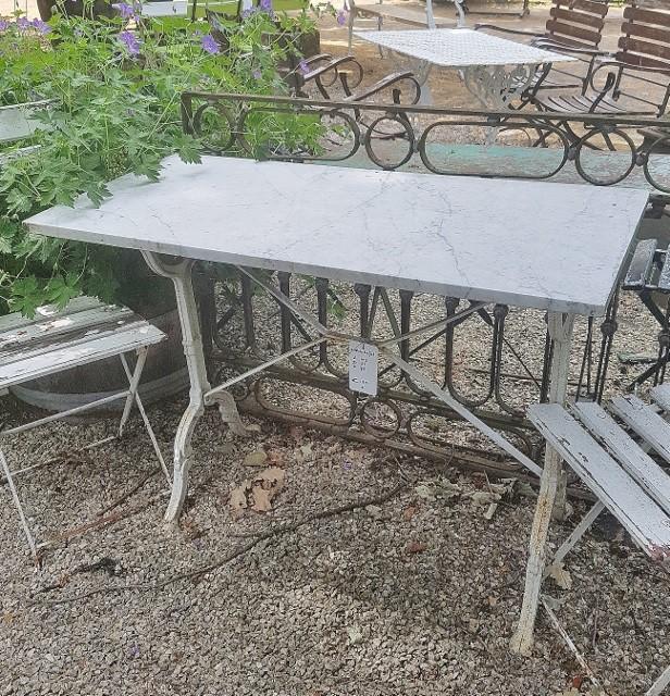 Ronde Tafel Met Smeedijzeren Onderstel.Bistrotafels Vieille France